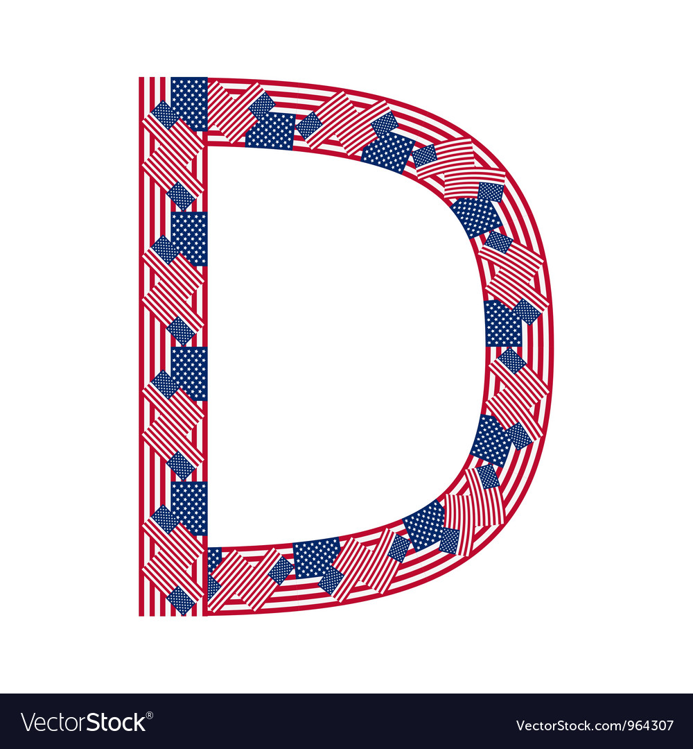 Letter d made of usa flags vector | Price: 1 Credit (USD $1)