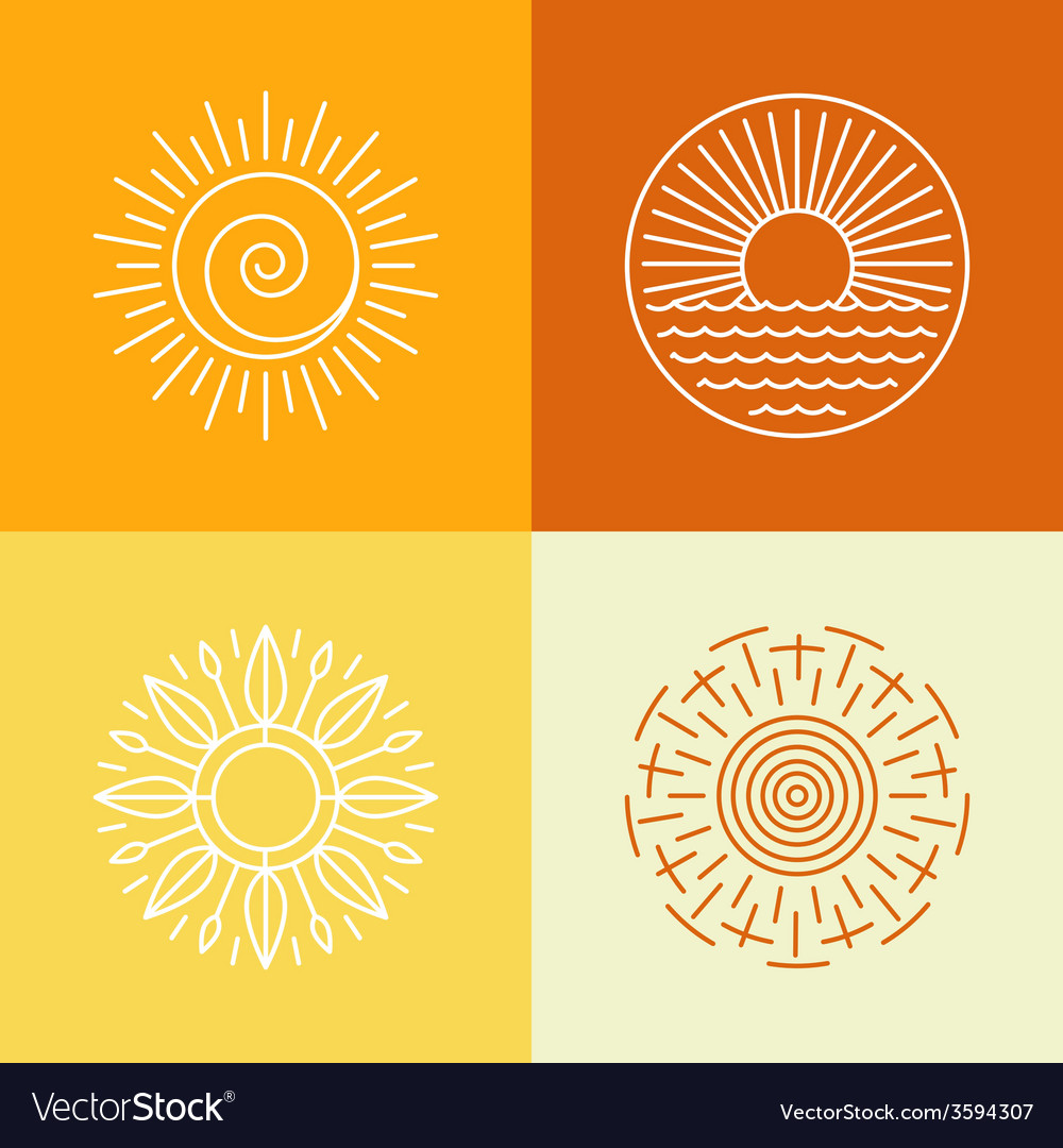 Outline sun icons and logo design elements vector | Price: 1 Credit (USD $1)