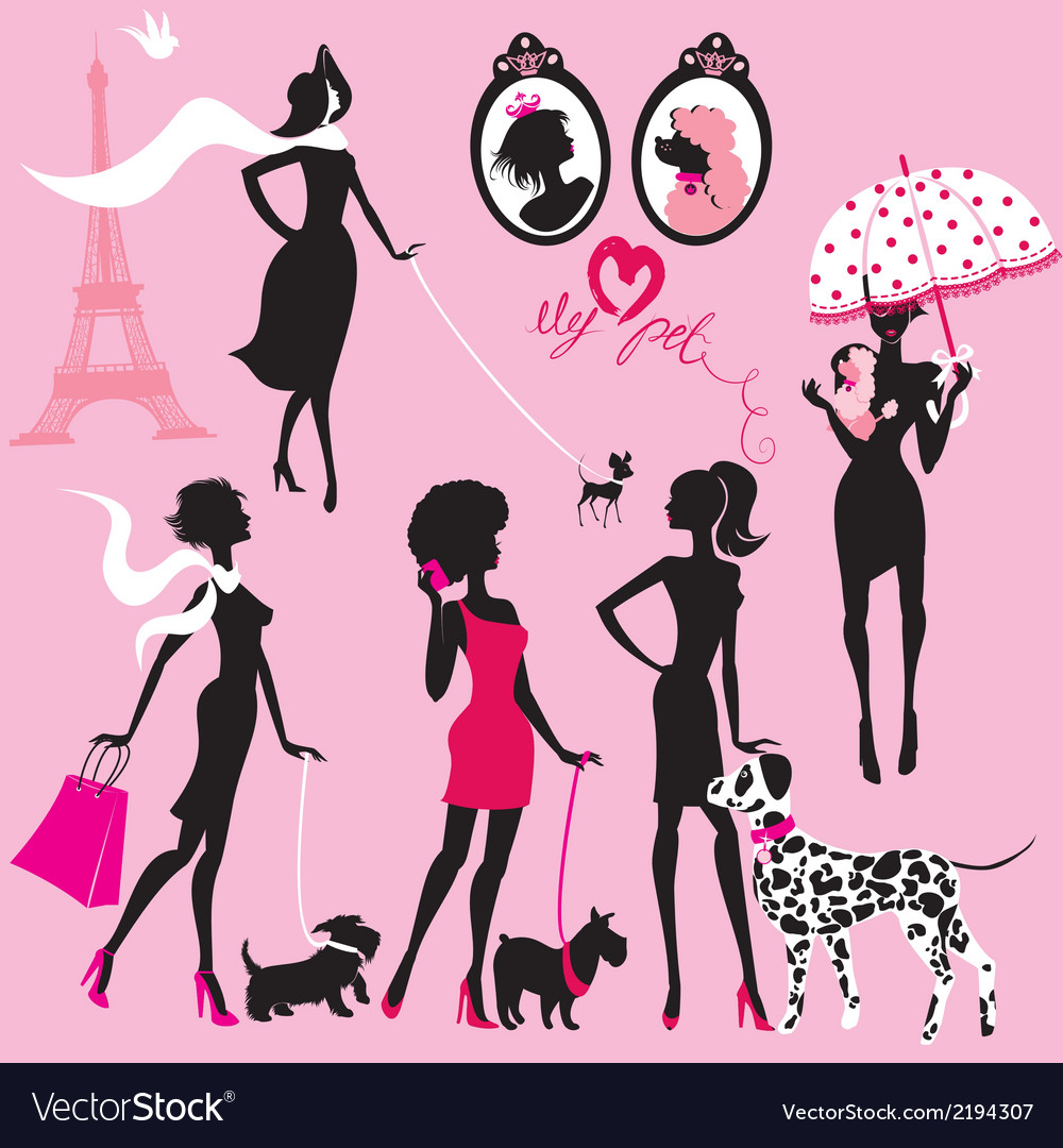 Set of black silhouettes of fashionable girls vector