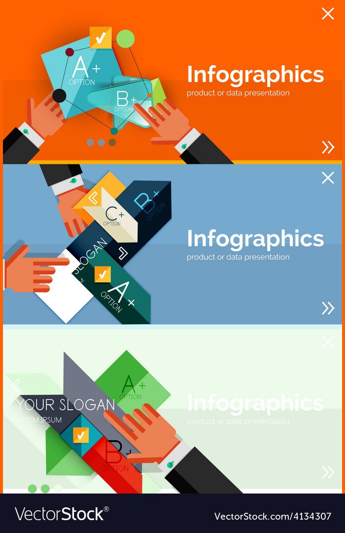 Set of infographic flat design banner with hands vector | Price: 1 Credit (USD $1)