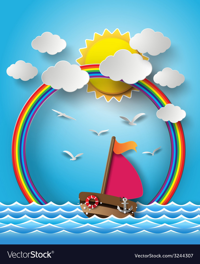 Yacht on sea with sun bream and rainbow vector | Price: 3 Credit (USD $3)