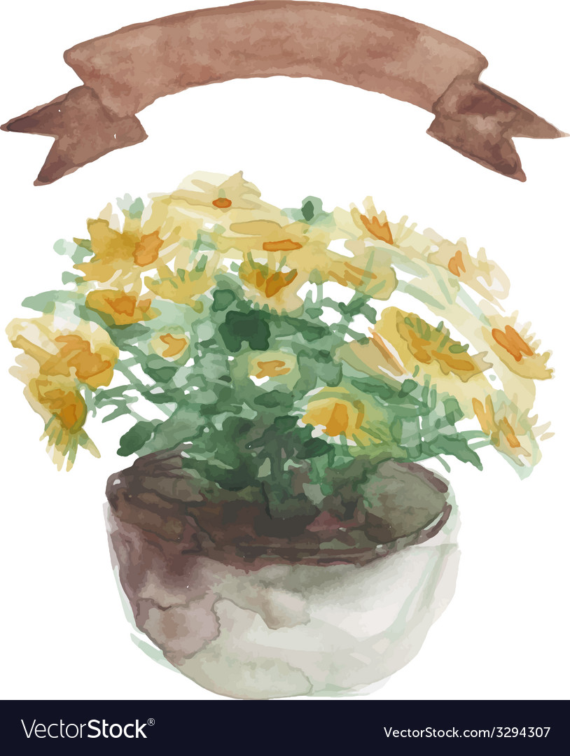 Yellow flower in a flower pot beige ribbon set on vector | Price: 1 Credit (USD $1)
