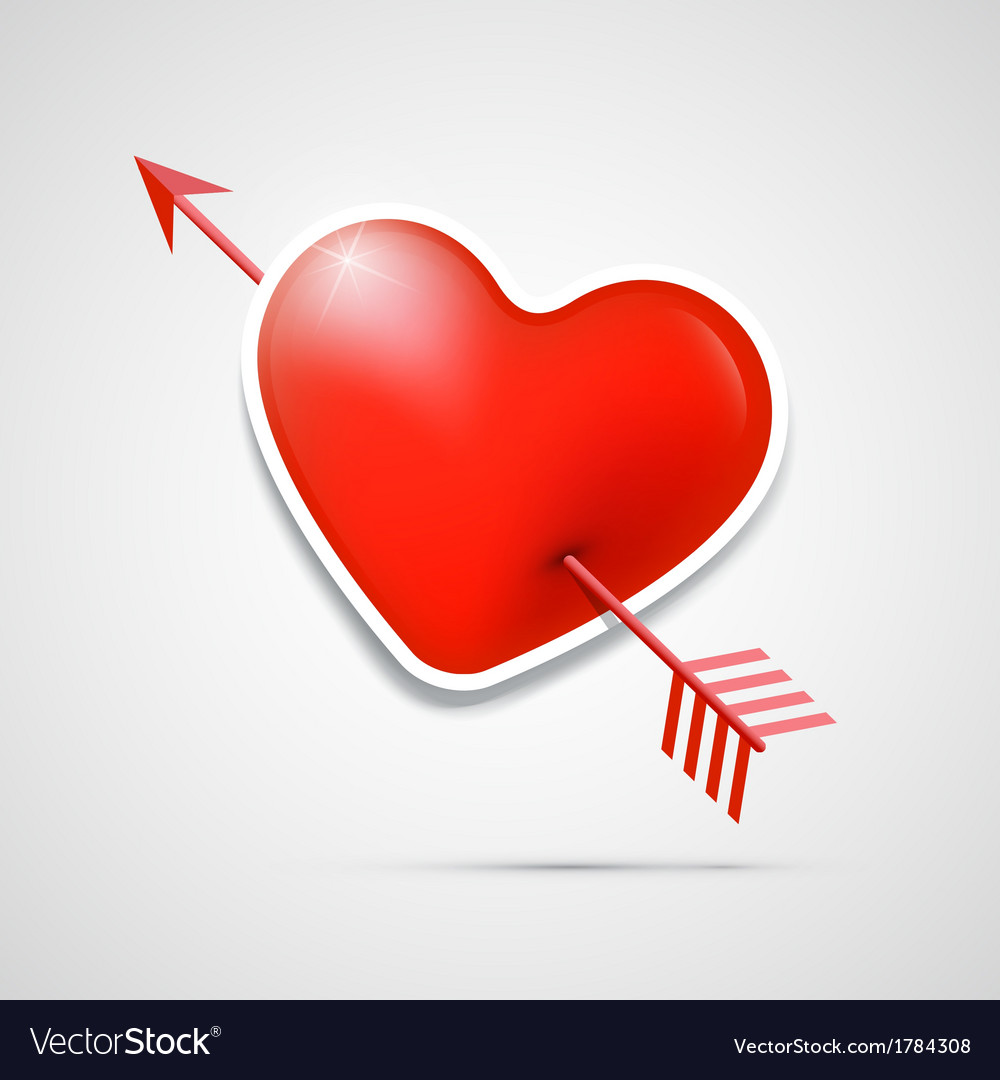 3d red heart pierced with an arrow vector | Price: 1 Credit (USD $1)