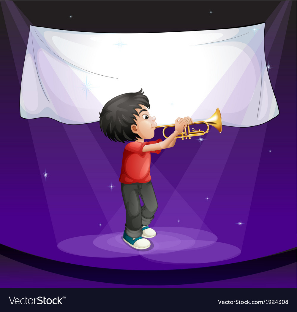 A boy performing at the stage with an empty banner vector | Price: 3 Credit (USD $3)