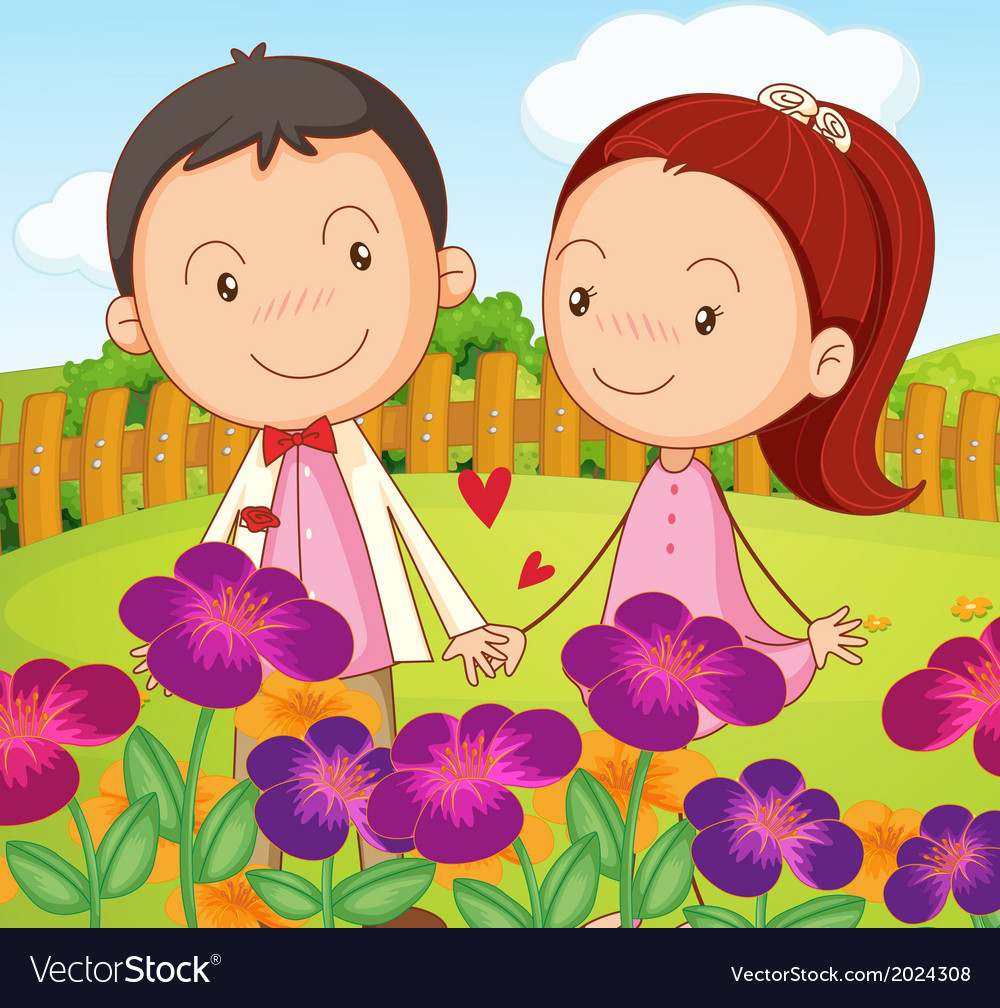 A sweet couple at the garden in the hilltop vector | Price: 3 Credit (USD $3)