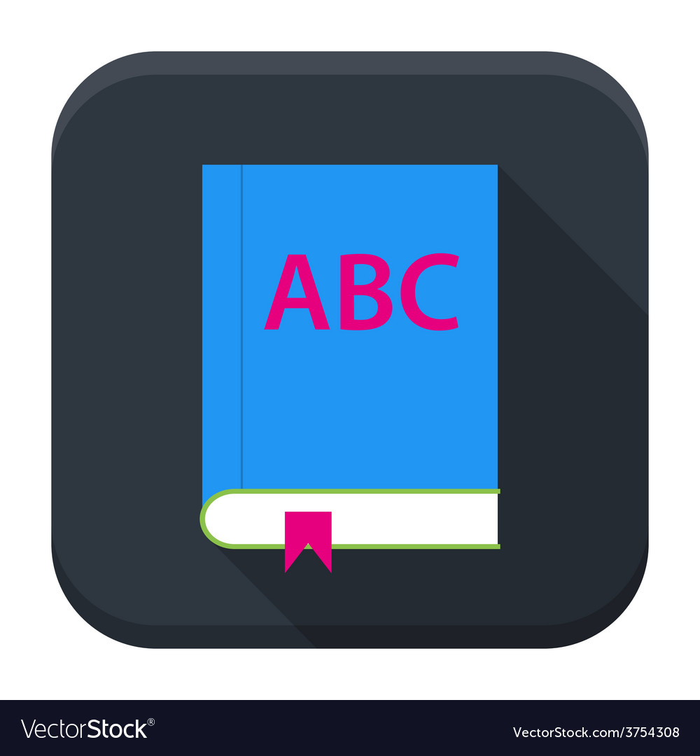 Abc english book app icon with long shadow vector | Price: 1 Credit (USD $1)