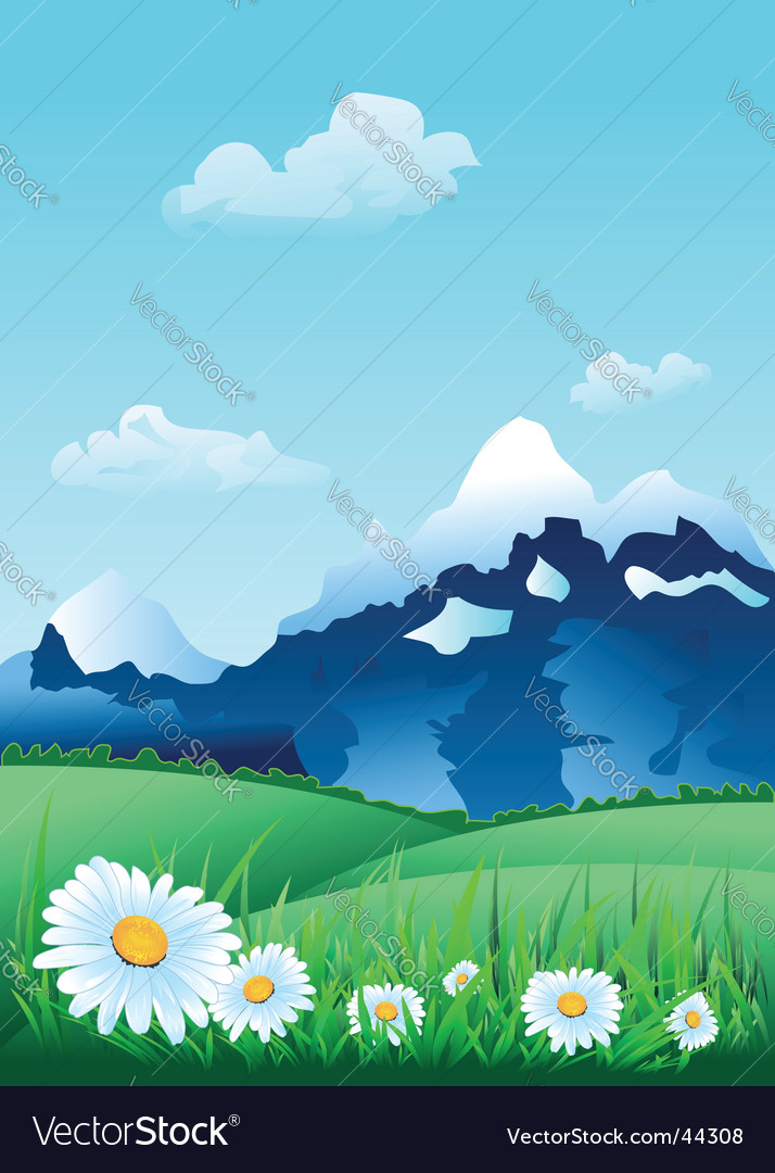 Alpine landscape vector | Price: 1 Credit (USD $1)