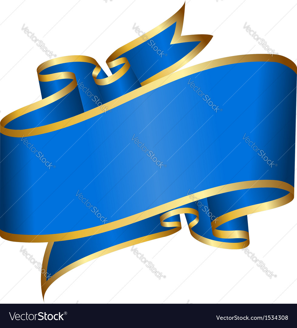 Big blue ribbon isolated on white background vector | Price: 1 Credit (USD $1)
