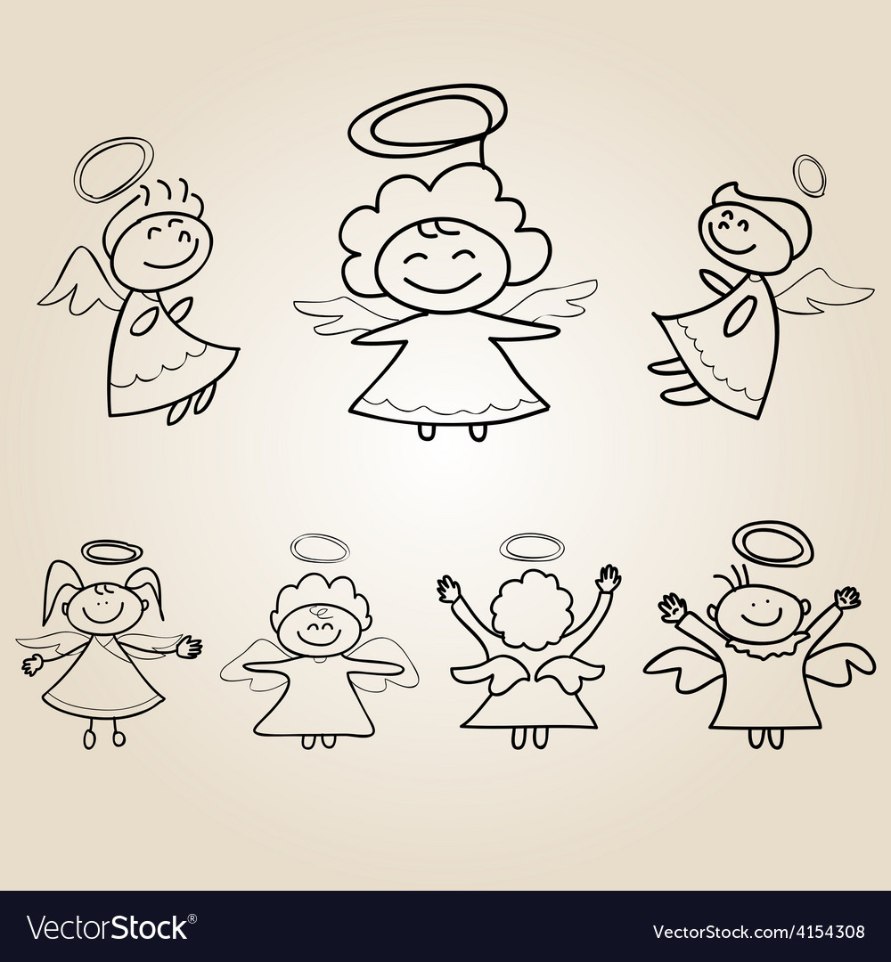 Cartoon angels character vector | Price: 1 Credit (USD $1)