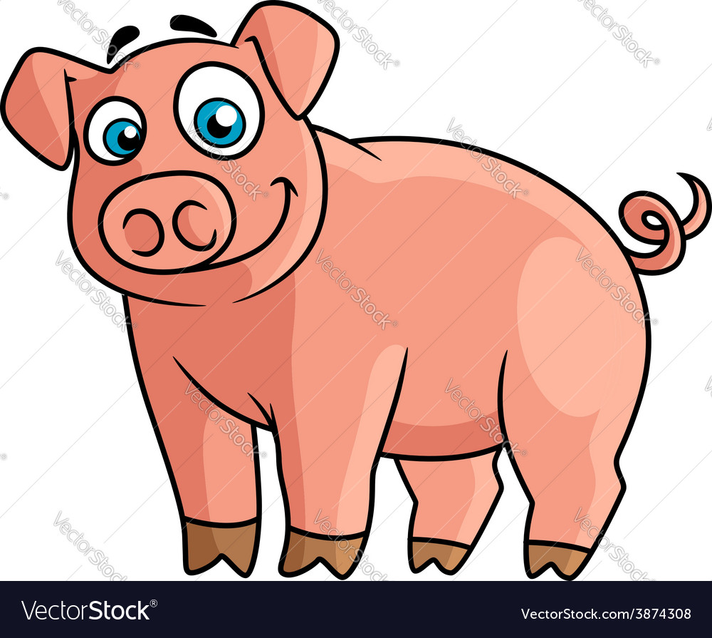 Cute pink piggy in cartoon style vector | Price: 1 Credit (USD $1)