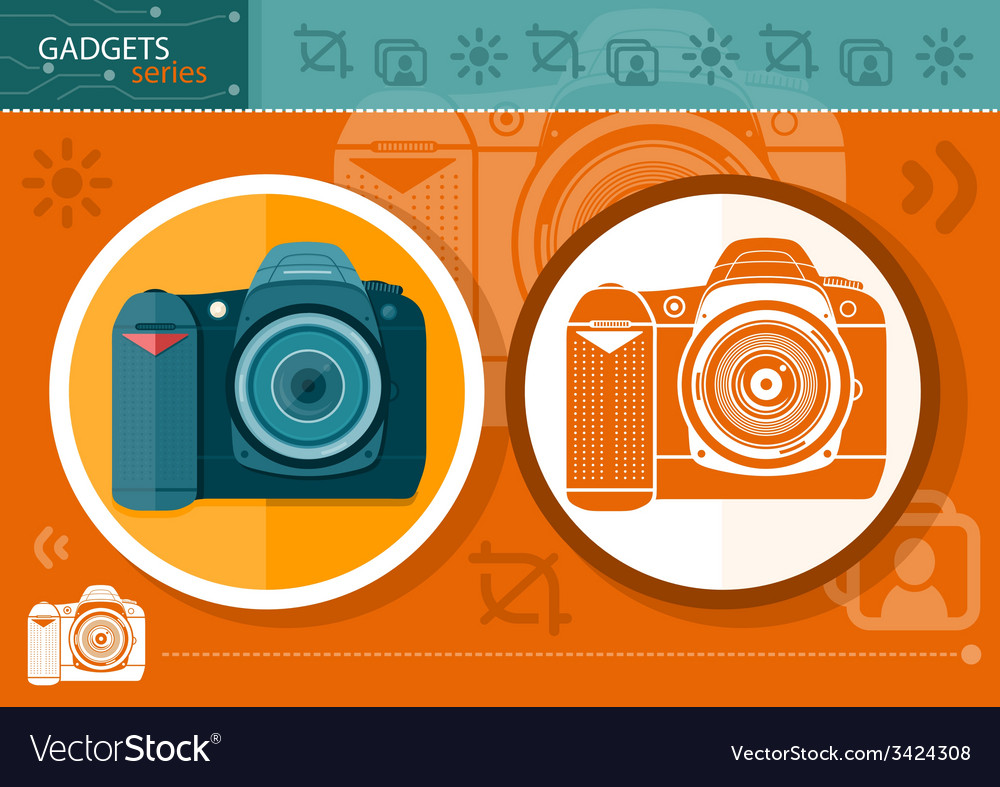 Digital camera in frame on orange background vector | Price: 1 Credit (USD $1)