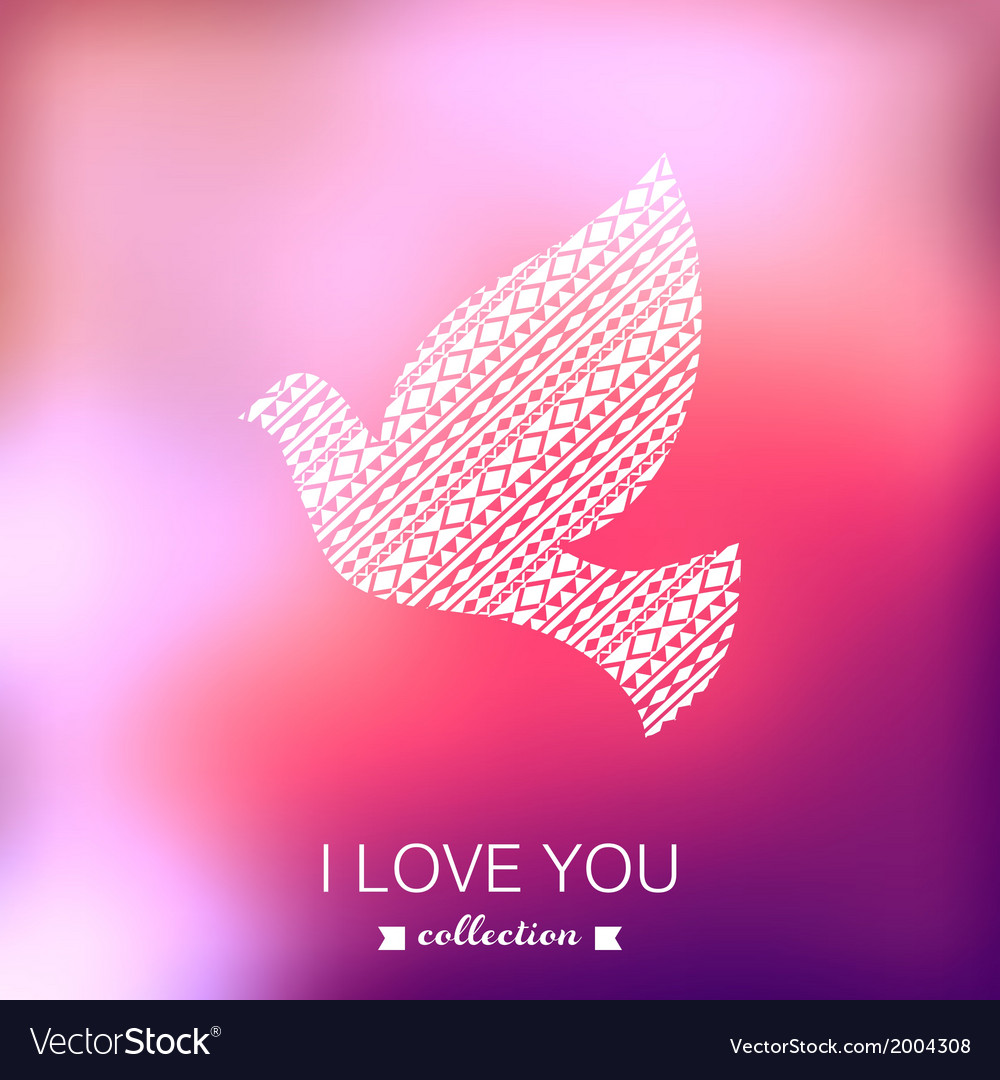 Dove valentines day background pigeon blurred vector | Price: 1 Credit (USD $1)