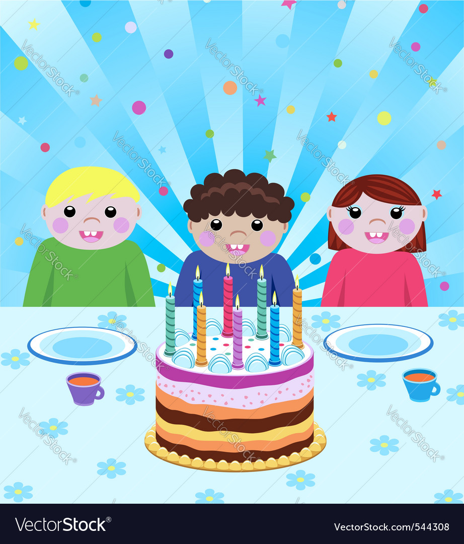 Happy kids at birthday party vector | Price: 1 Credit (USD $1)