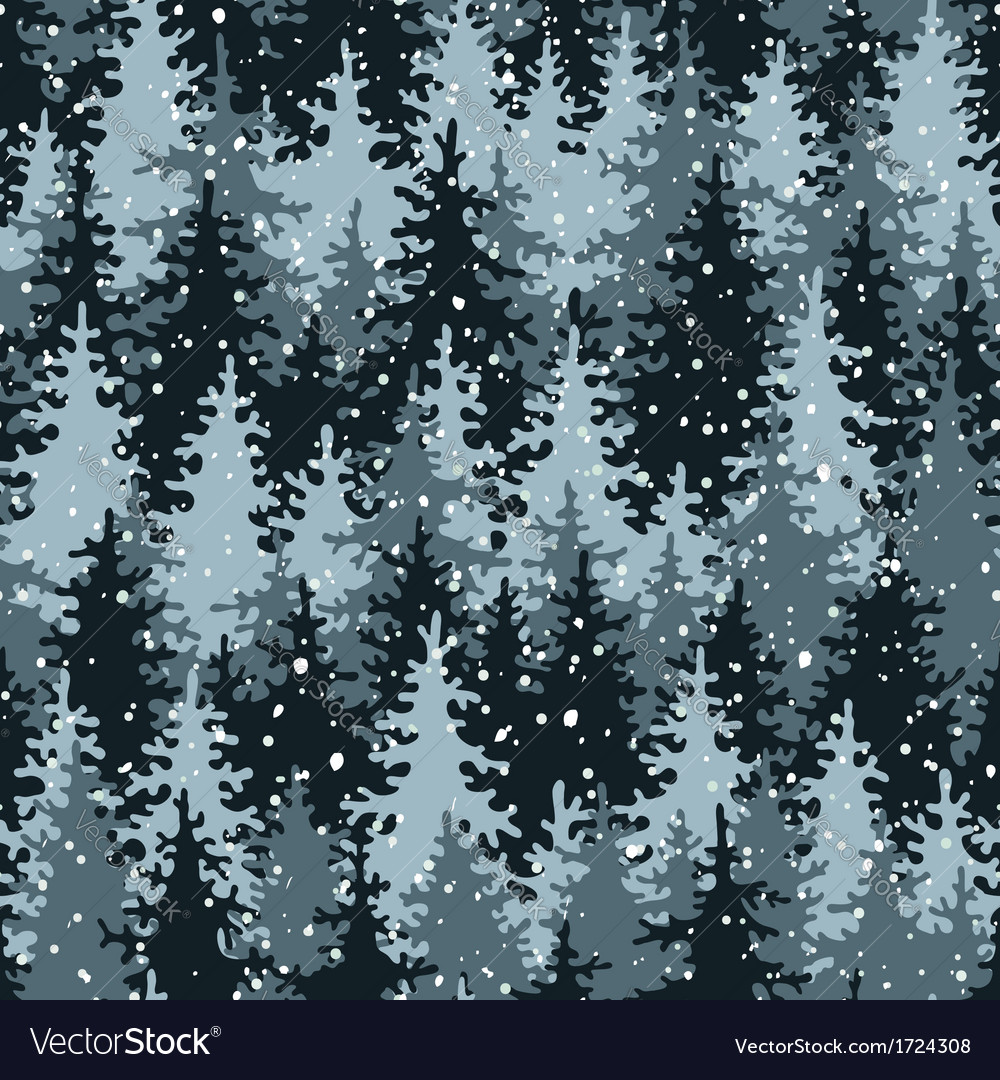 Heavy snow in the pine forest vector | Price: 1 Credit (USD $1)