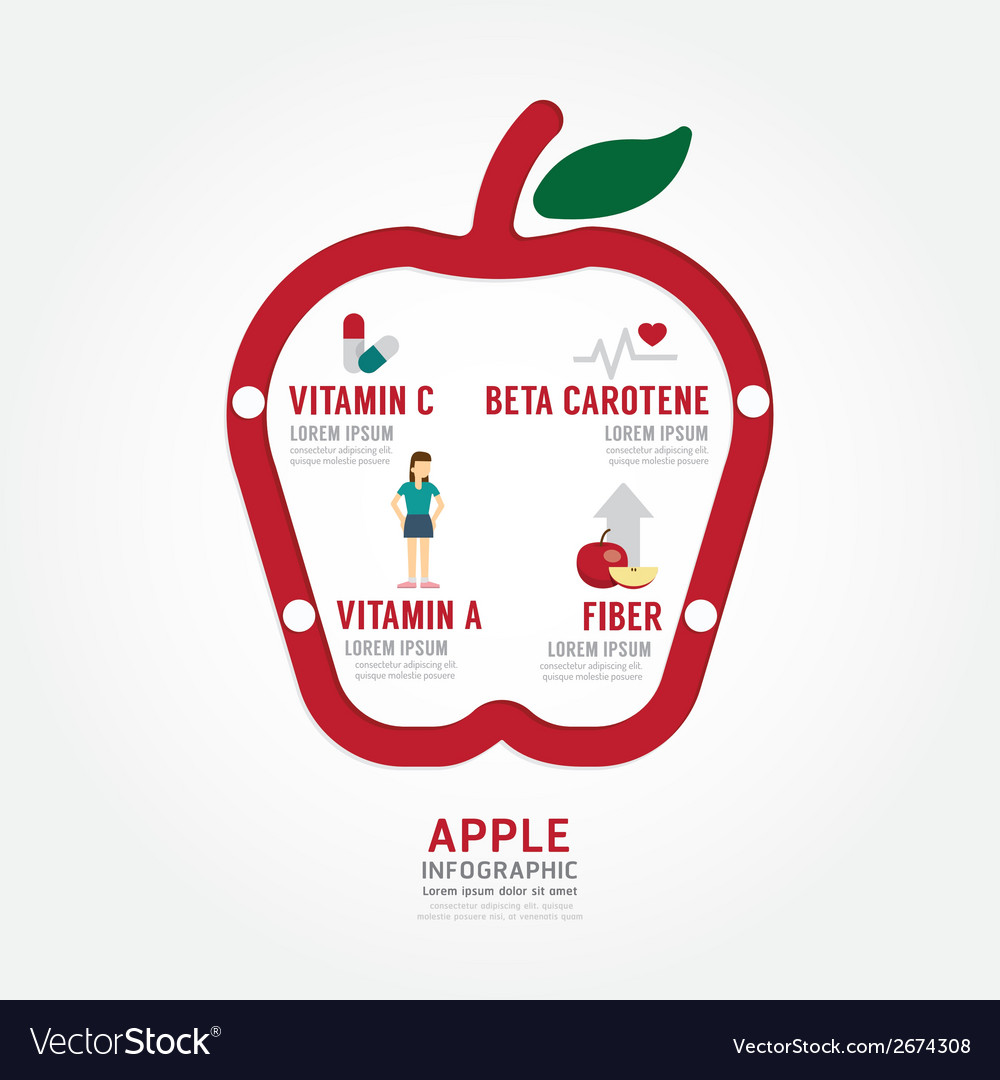Infographic apple health concept template design vector | Price: 1 Credit (USD $1)