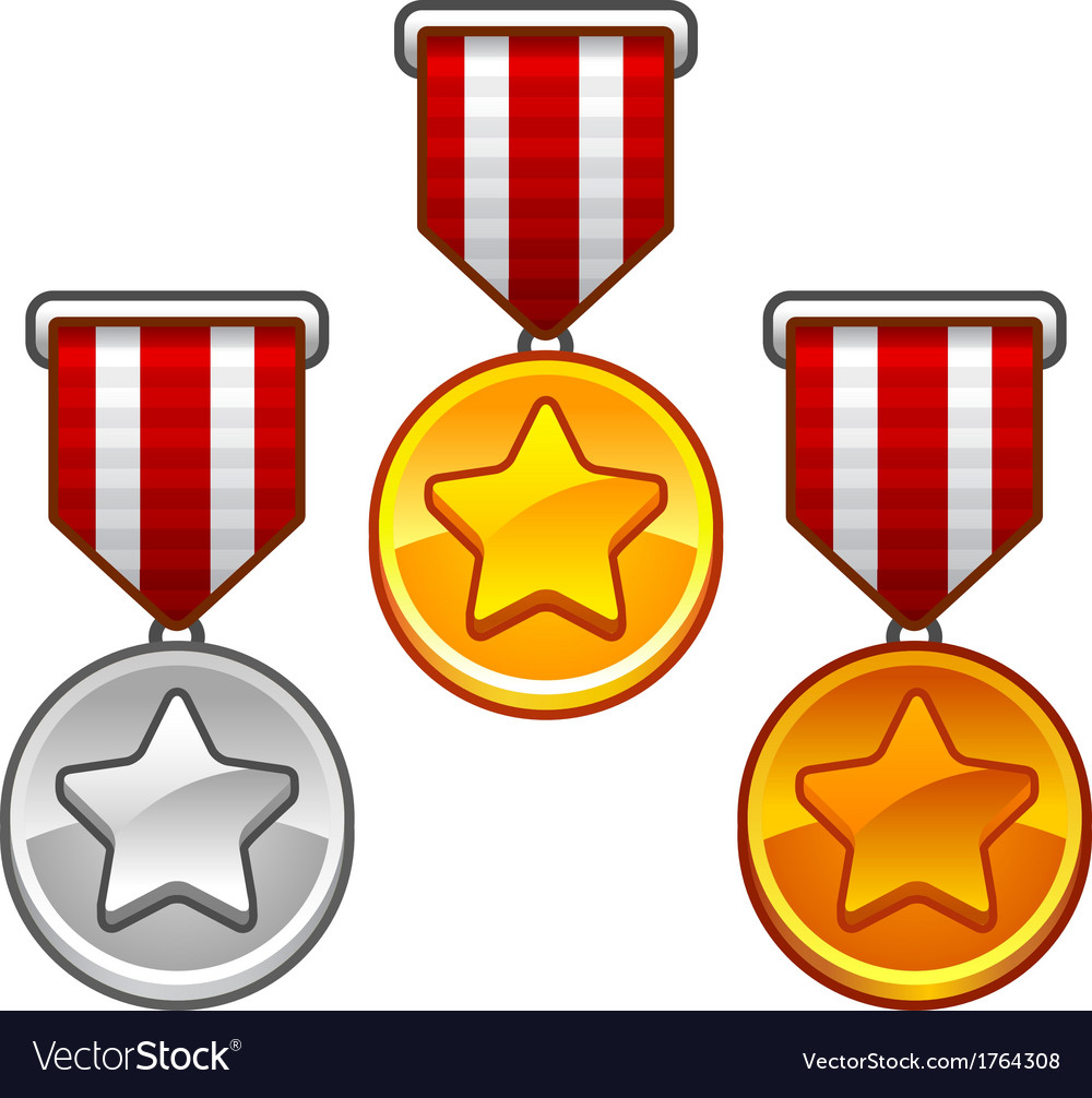 Military medals with stars vector | Price: 1 Credit (USD $1)