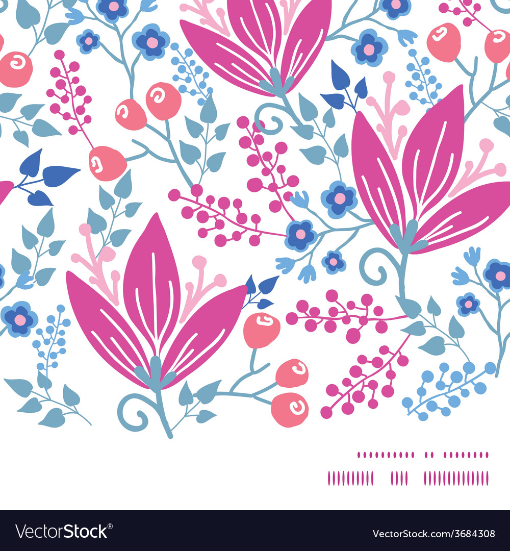 Pink flowers horizontal frame seamless pattern vector | Price: 1 Credit (USD $1)