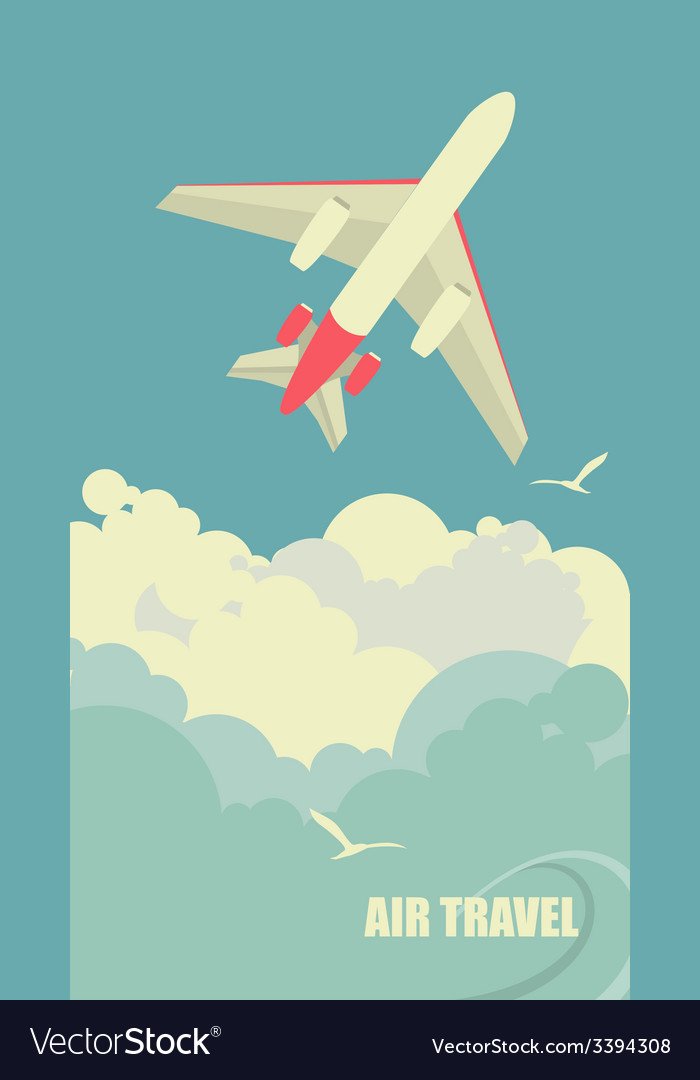 The plane flies against the sky vector | Price: 1 Credit (USD $1)