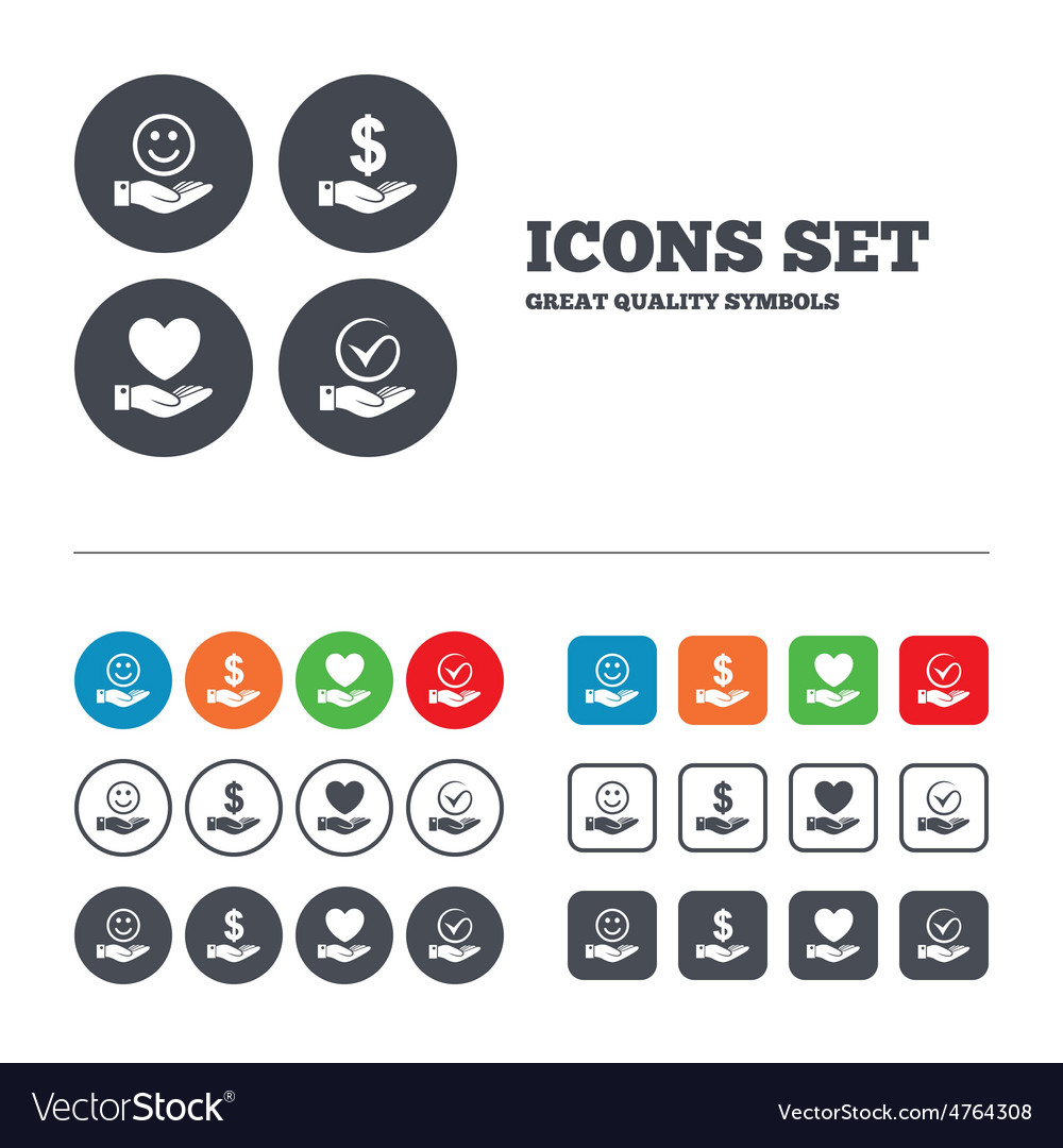 Smile and hand icon heart tick symbol vector   Price: 1 Credit (USD $1)