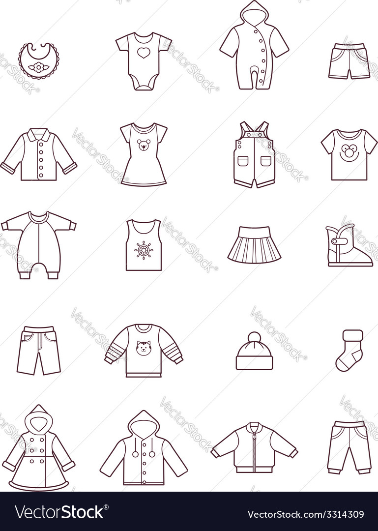 Baby clothes icon set vector | Price: 1 Credit (USD $1)