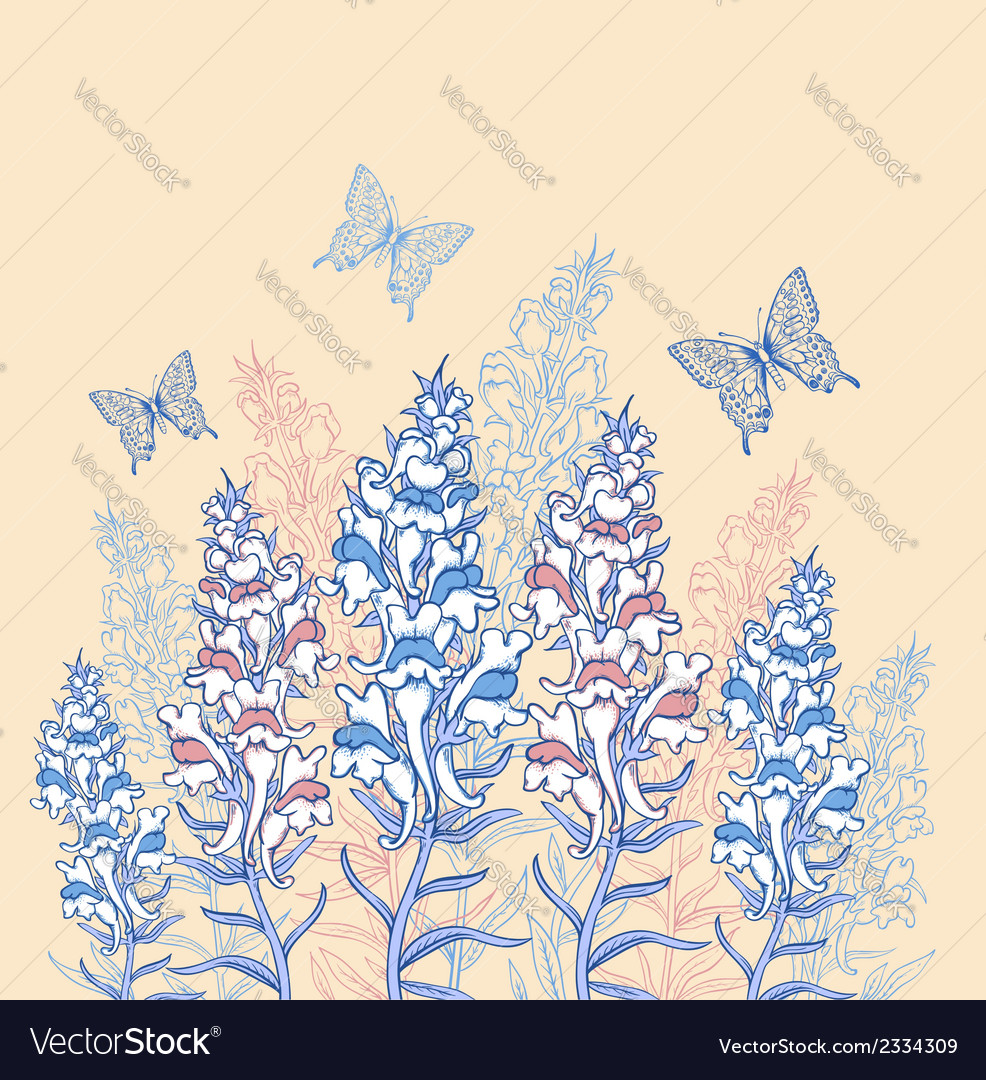 Blue and pink wildflowers vector | Price: 1 Credit (USD $1)