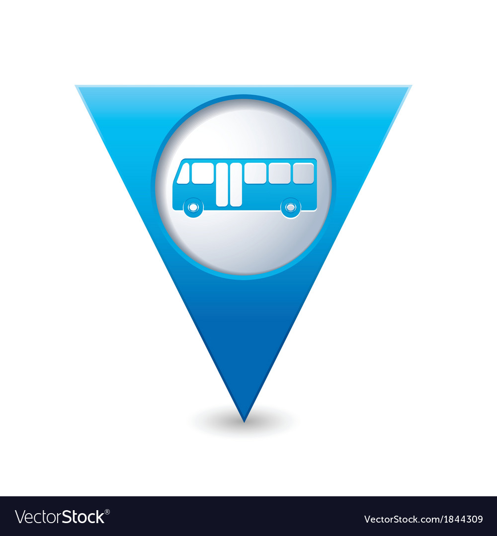 Bus icon map pointer blue vector | Price: 1 Credit (USD $1)