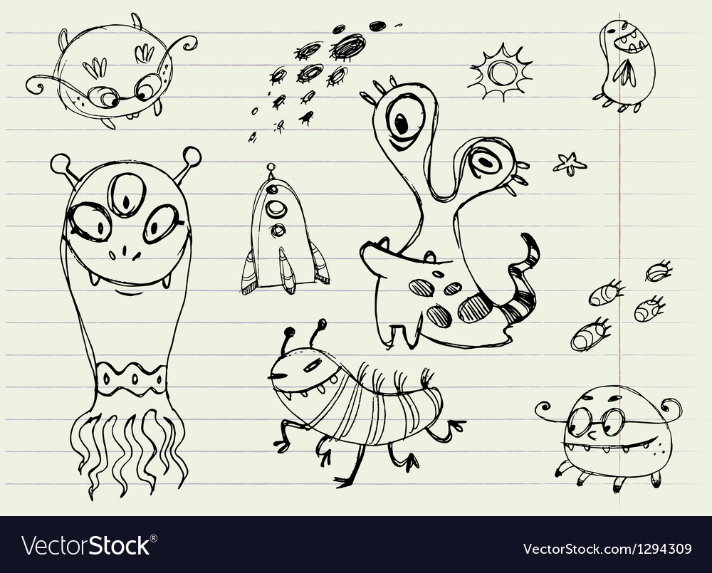 Collection of cartoon doodle monsters 5 vector | Price: 1 Credit (USD $1)