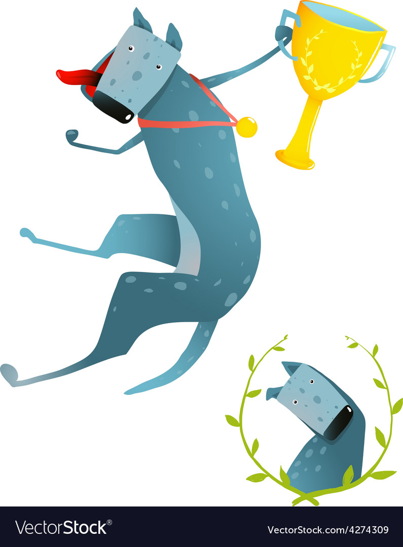 Competition winning red happy dog jumping with cup vector | Price: 1 Credit (USD $1)