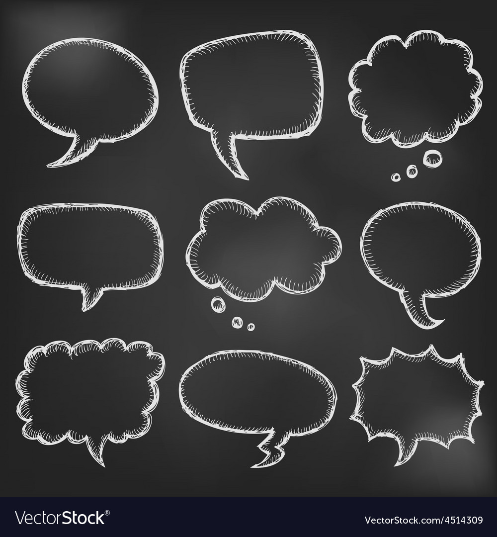 Hand drawn cartoon speech bubble on black board vector | Price: 1 Credit (USD $1)