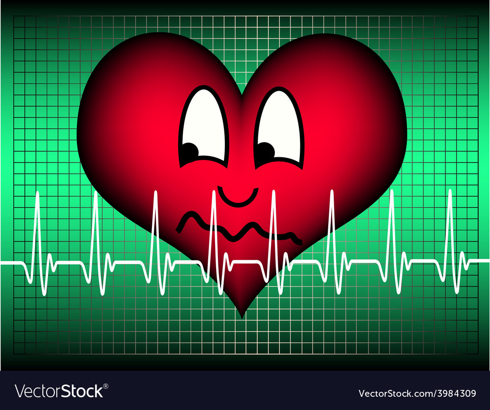 Heart suspicious on green with cardio line vector | Price: 1 Credit (USD $1)