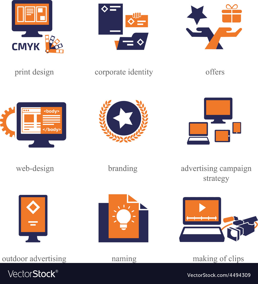Icons set for advertisement company vector   Price: 1 Credit (USD $1)