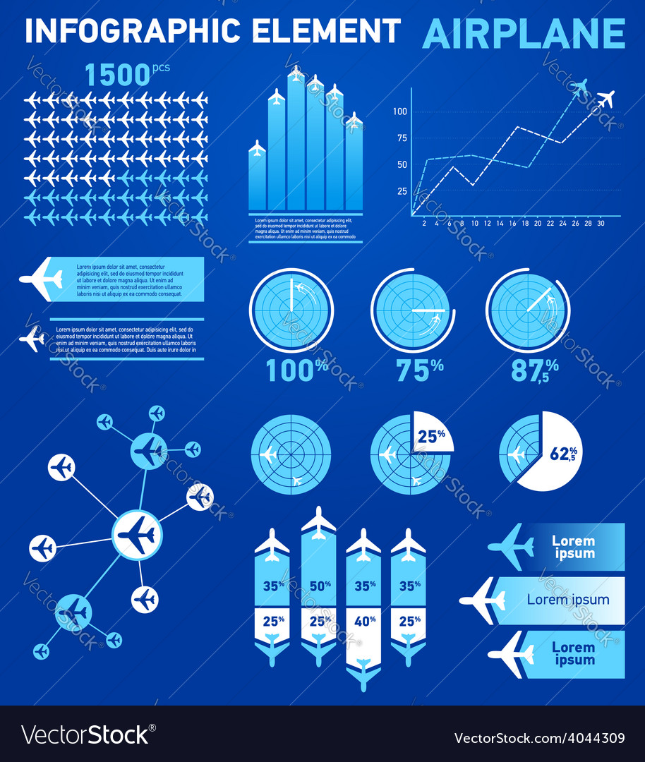 Infographics elements airplane vector | Price: 1 Credit (USD $1)