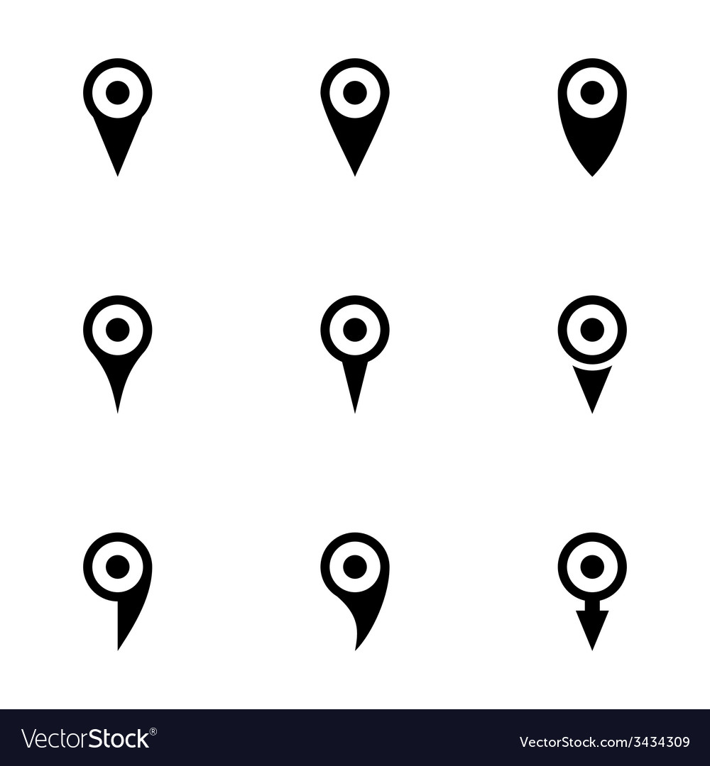 Map pointer icon set vector | Price: 1 Credit (USD $1)