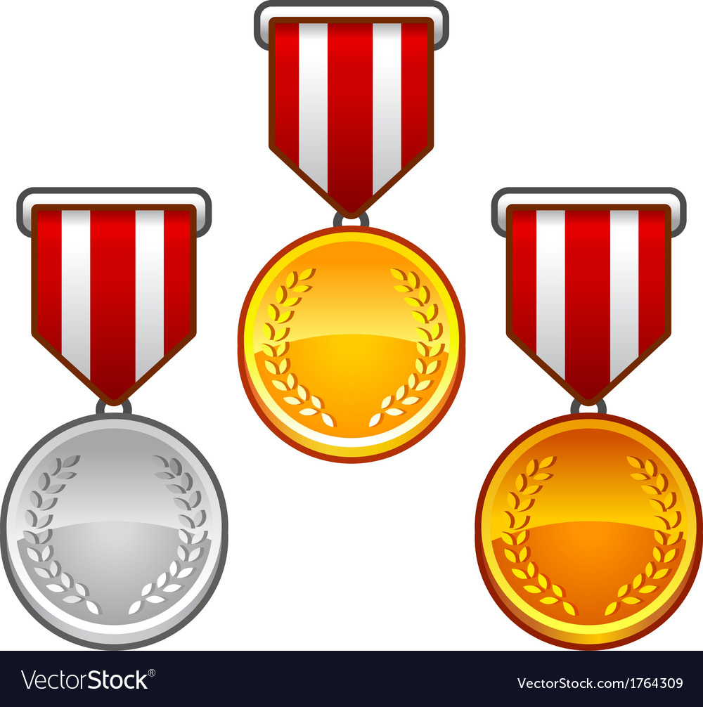 Military medals with laurel vector | Price: 1 Credit (USD $1)