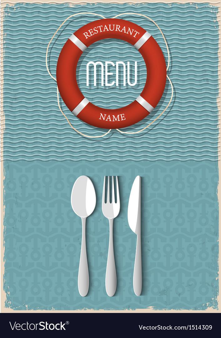 Retro menu design for seafood restaurant vector | Price: 1 Credit (USD $1)