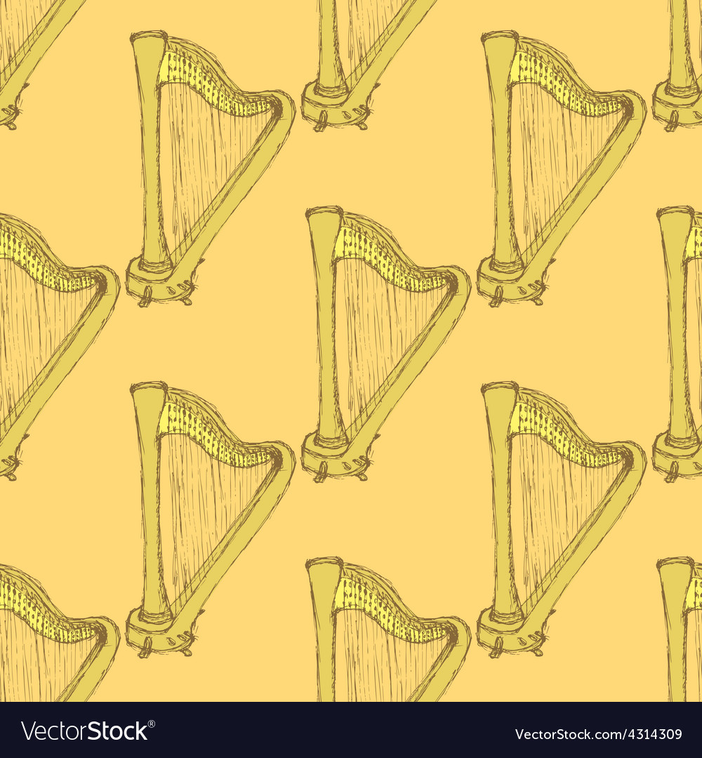 Sketch harp musical instrument in vintage style vector | Price: 1 Credit (USD $1)