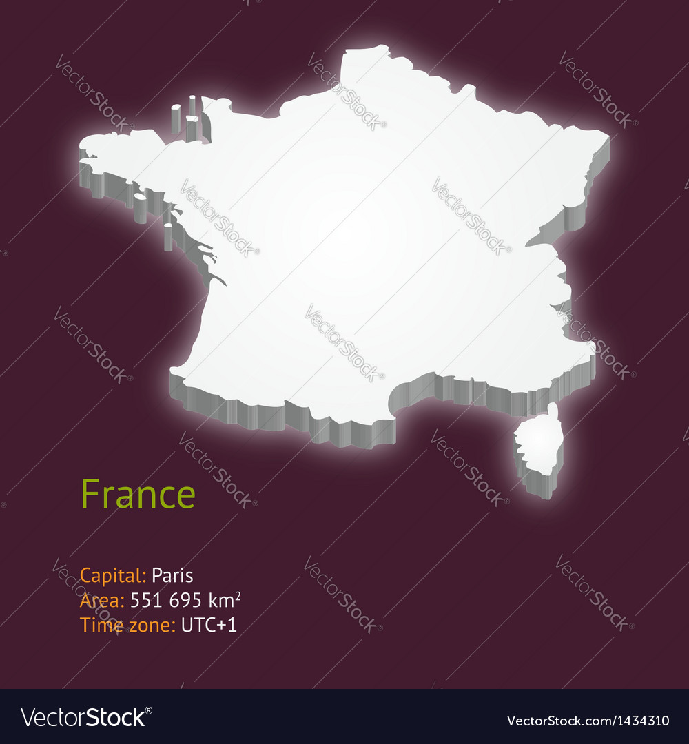 3d map of metropolitan france vector | Price: 1 Credit (USD $1)