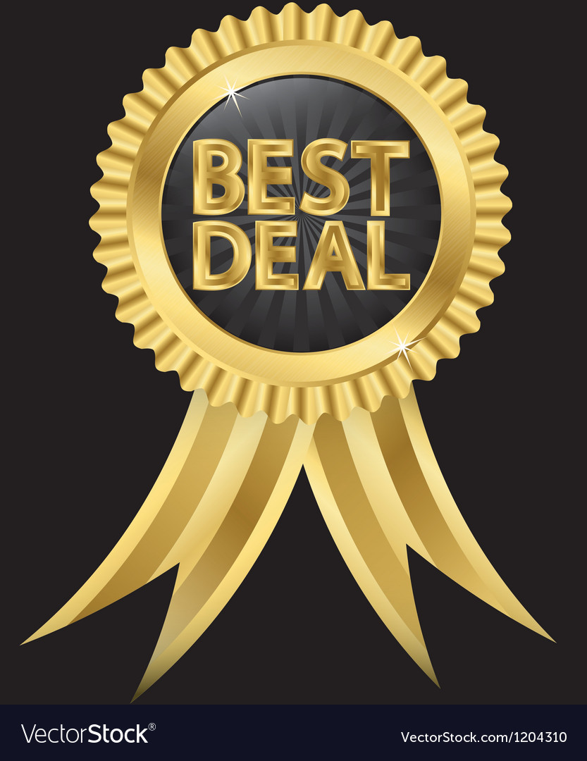 Best deal golden label with ribbons vector | Price: 1 Credit (USD $1)