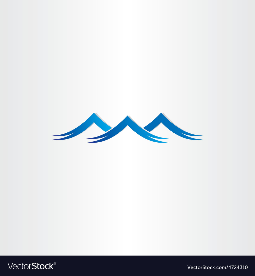 Blue water waves stylized symbol vector | Price: 1 Credit (USD $1)
