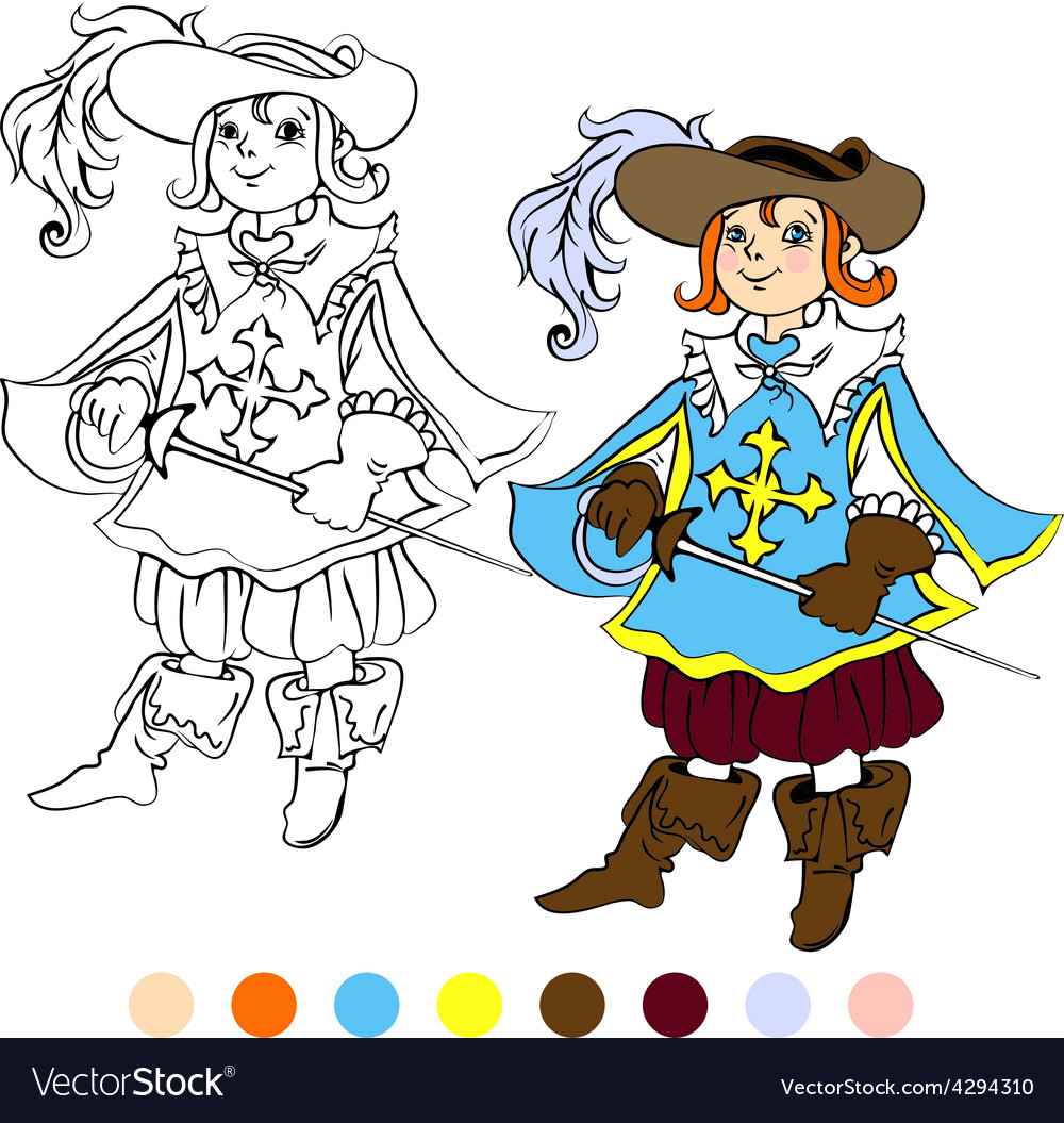 Coloring book kids play musketeer theme 4 - eps10 vector | Price: 1 Credit (USD $1)