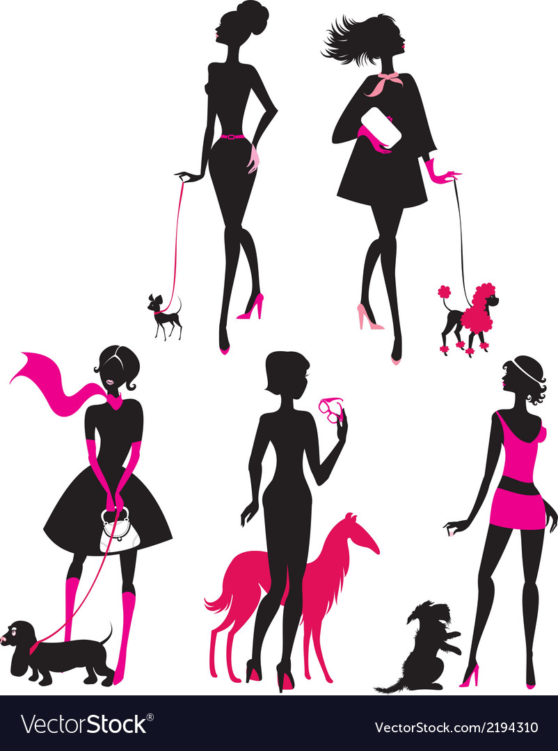 Dog girls set 2 380 vector | Price: 1 Credit (USD $1)