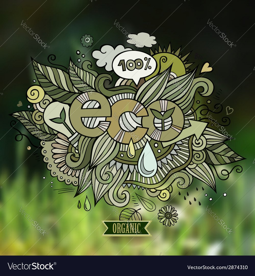 Eco hand lettering and doodles elements vector | Price: 1 Credit (USD $1)
