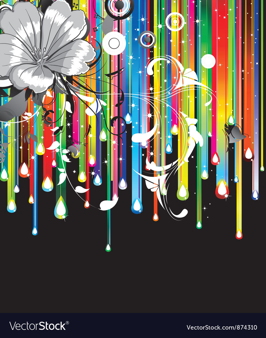 Floral background with rainbow vector | Price: 1 Credit (USD $1)