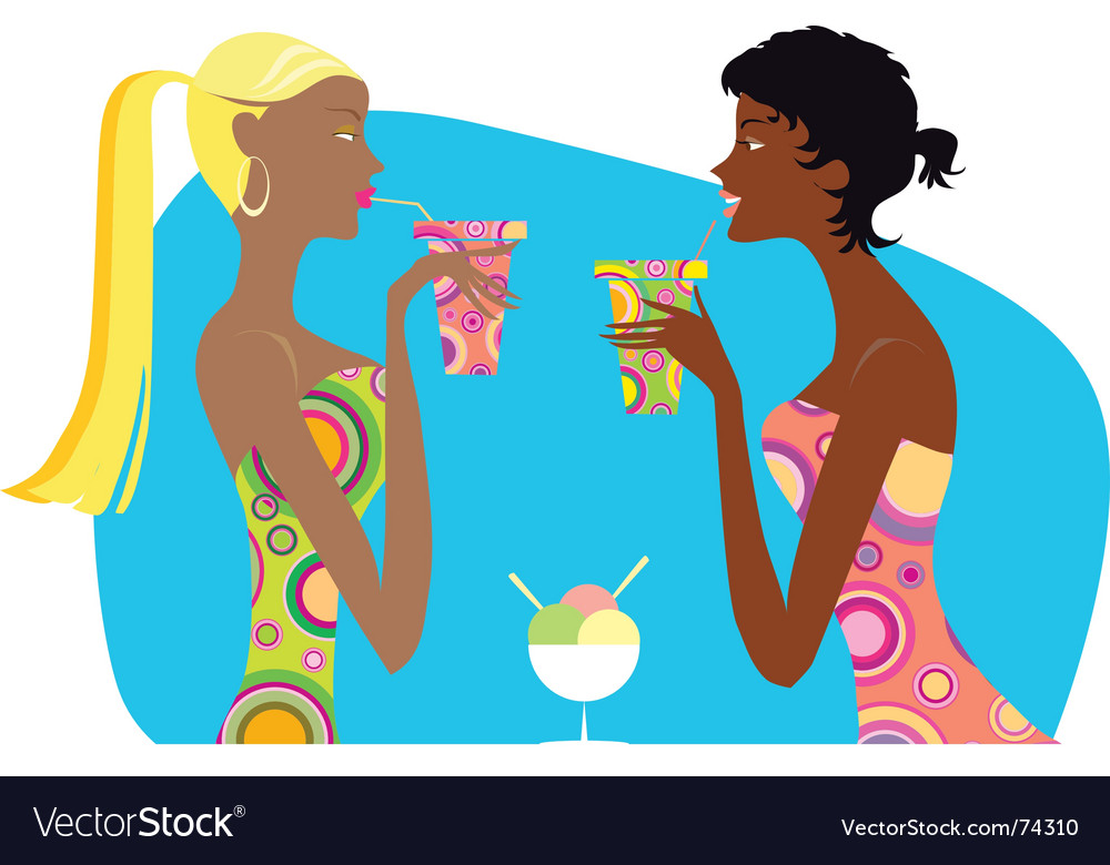 Girls drinking cocktails vector | Price: 3 Credit (USD $3)