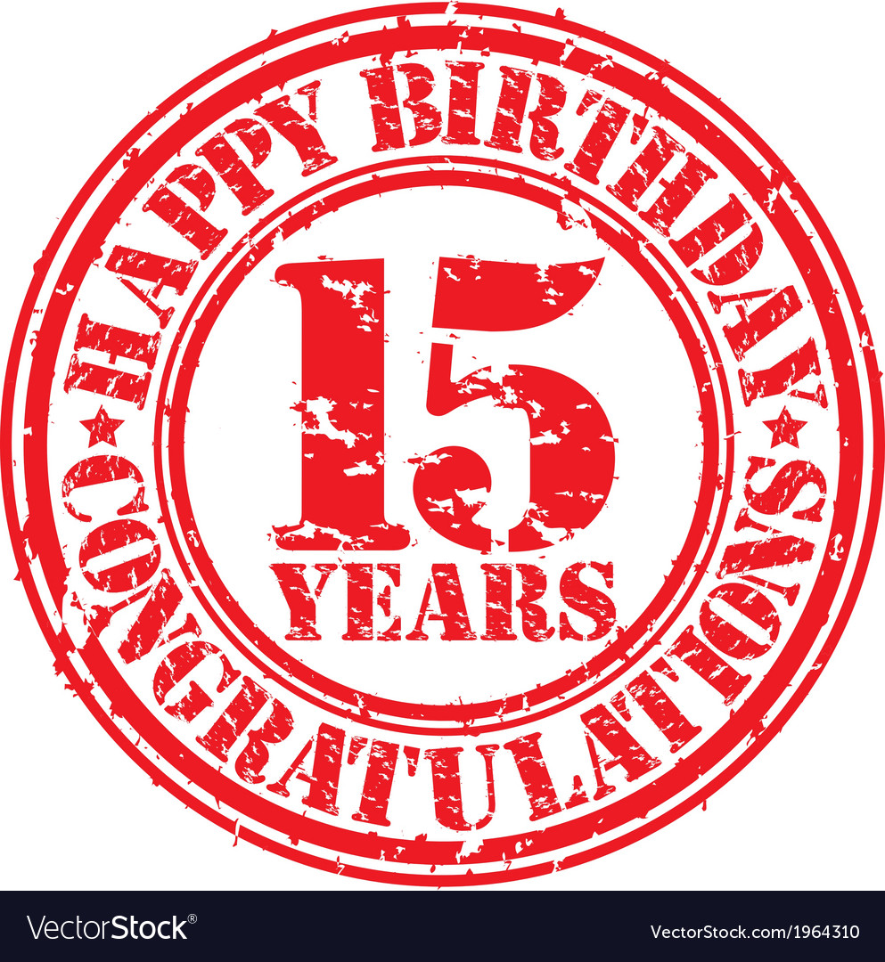 Happy birthday 15 years grunge rubber stamp vector | Price: 1 Credit (USD $1)