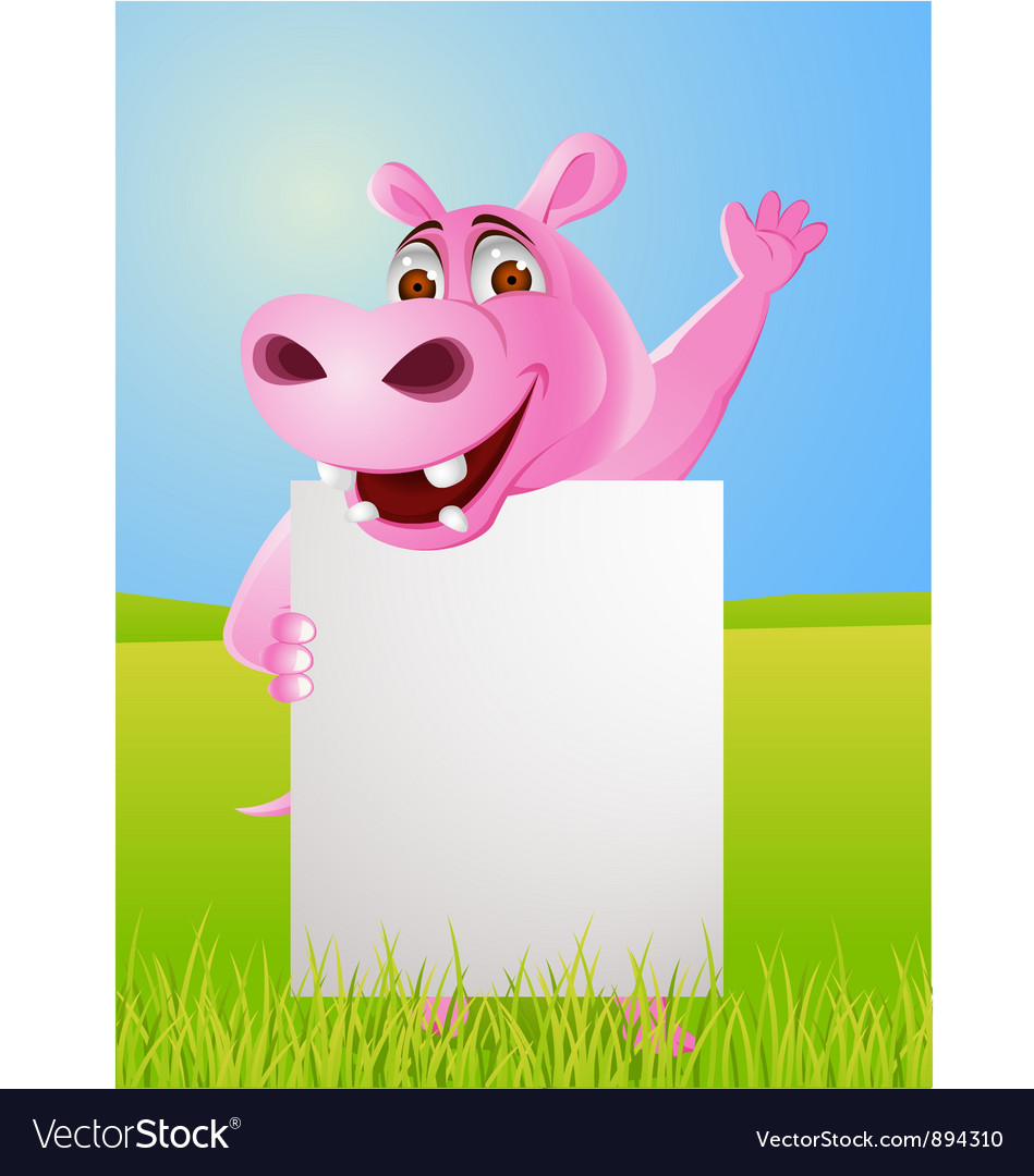 Hippo cartoon with blank sign vector | Price: 3 Credit (USD $3)