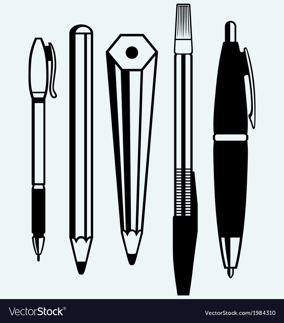 Pencil pen and fountain pen icons vector | Price: 1 Credit (USD $1)