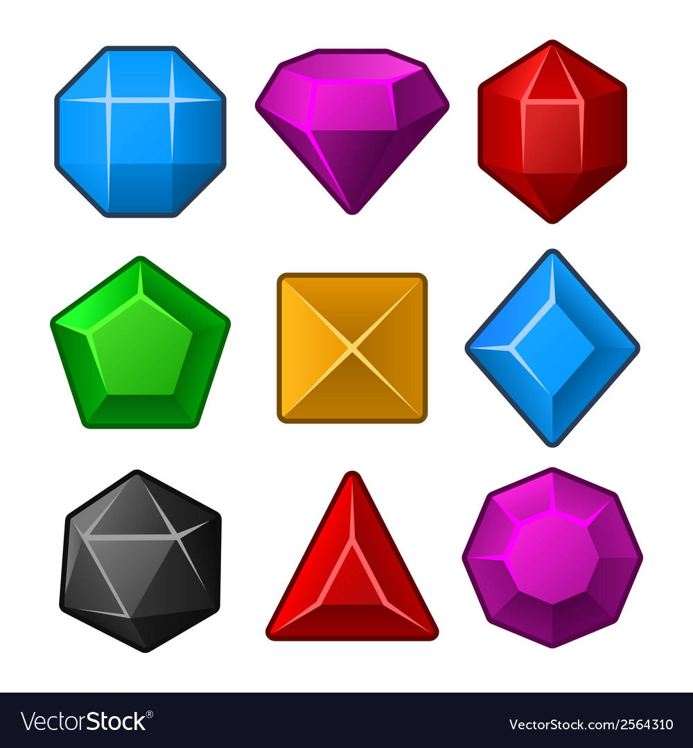 Set of multicolored gems for match3 games vector | Price: 1 Credit (USD $1)
