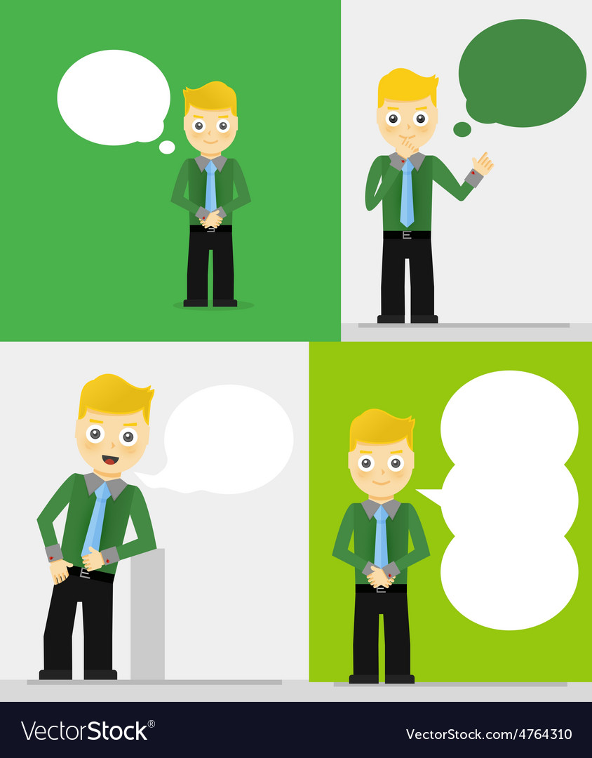 Set of young businessmen with speech bubbles vector | Price: 1 Credit (USD $1)
