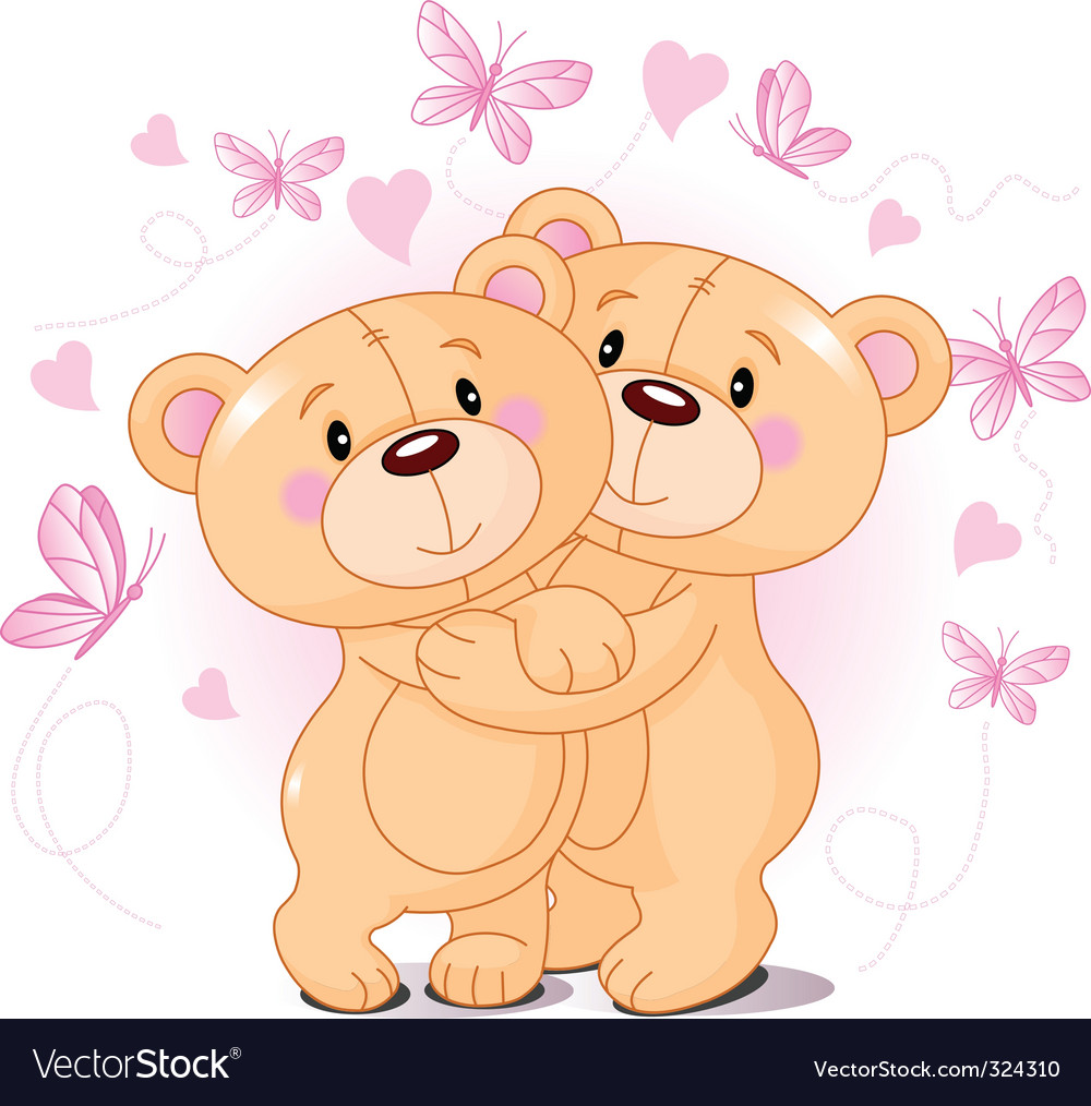 Teddy bears in love vector | Price: 3 Credit (USD $3)